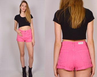 Hot Pink High Waist Denim Cuff Shorts Jean Medium