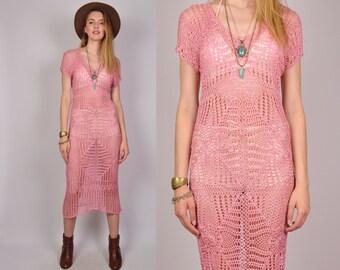 Sheer Pink Crochet Midi Dress Boho Festival Hippie