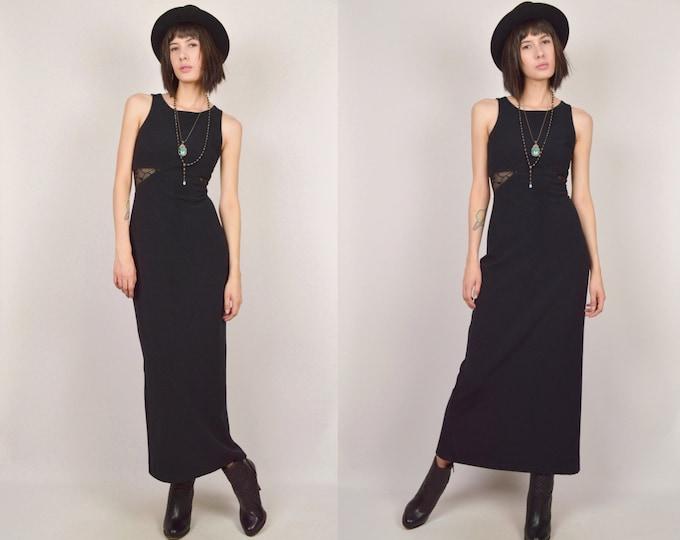 90's Black Maxi Dress Bodycon Vintage cut out