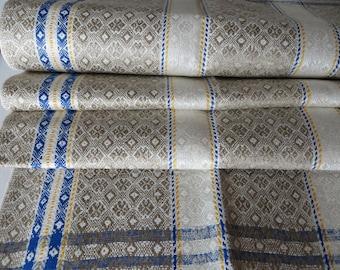 Unused  Towel  Art Deco Linen  Diamonds Blue Yellow Stripes Kitchen Runner Dish Cloth Napkin Torchon Germany 1920 Upholstery Geometrics