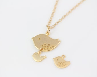 Bird Necklace - Gold Bird Necklace - Mother and Son, Gold Jewelry -  Mom and Baby, Mother Daugther Necklace . Mothers Jewelry, By MonyArt