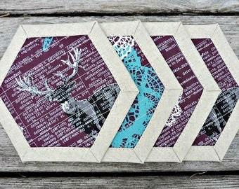 Set of Coasters, Quilted, Coasters, Set of 4, Custom Coasters, Mug Rugs, Deer, Butterfly, Purple, Turquoise, Linen Coasters, Custom Made