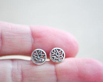 Tree Stud Earrings - Sterling Silver Tree Post Earrings - Gift For Women - Nature Jewelry - Aldari Jewelry Designs