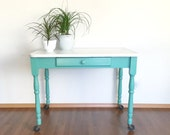 vintage enamel top table. primitive farmhouse furniture. kitchen decor. shabby chic desk.