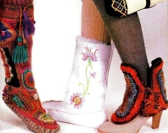 Vintage Hippie 70's Crochet Freeform Pixie Moccasin Boots - PDF Pattern - INSTANT DOWNLOAD