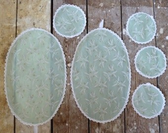 vintage doilies antique x6 beautiful matching doilies / placemats mint green