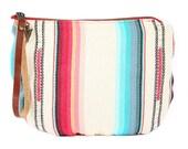 Tulum Jaya Moon Clutch -Handmade Bohemian Fabric & Leather -Environmentally Conscious- purse/clutch/pouch/hand bag/tote