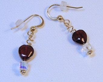 14 Karat Gold Filled RED GARNET EARRINGS