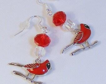 CARDINAL EARRINGS - Red Crystal & CZ