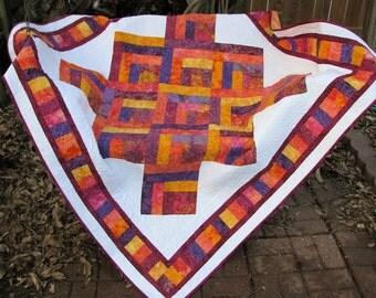 Quilt - Lap Quilt, Sofa Quilt, Quilted Throw - Log Cabin Batik Lap Quilt - Mardi Gras