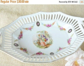 On Sale Antique Reticulated German Porcelain Dish, Bowl, Cottage Style, French Country