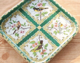 Vintage Daher Green Litho Serving Tray, Tea Party, Ca. 1971, Robin Red Breast, Home and Living