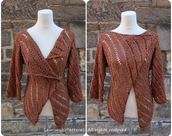 Knitting PATTERN - Summer Tweed wrap, cardigan jacket, clothing patterns laurimuks  - Listing151