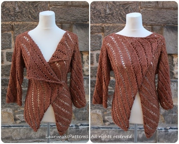 Knitting Patterns Summer Jackets : Knitting PATTERN Summer Tweed wrap cardigan jacket