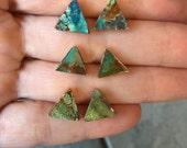 Turquoise triangle studs, boho jewelry