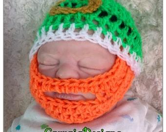Irish handmade St particks day beard hat knit crochet fitted beanie,unique designer,kids newborn hats,bearded baby boy girl toddler ireland