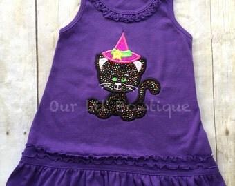 Witch Dress - Halloween Shirt - Girls Halloween Dress - Witch Cat Shirt - Halloween Applique Dress - Cat Shirt - Halloween Cat - Dress