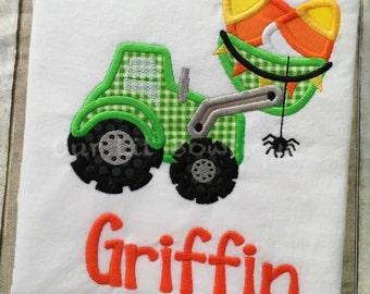 Halloween Digger Shirt - Boys Halloween Shirt - Candy Corn Shirt - Construction Shirt - Halloween Shirt - Boys Candy Corn - My 1st Halloween