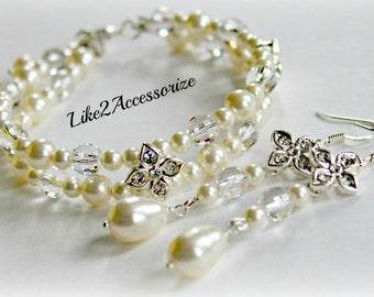 Bridal Cuff Bracelet and Earring Set, Two Strand Bracelet, Bridal Jewelry, Wedding Bracelet, Ivory Gold Pearl Bracelet, Multistrand Bracelet