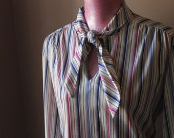 70s Striped Knit Polyester Tie Shirt