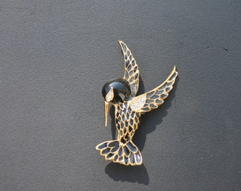 Vintage Gold and Black Hummingbird Brooch by Giovanni