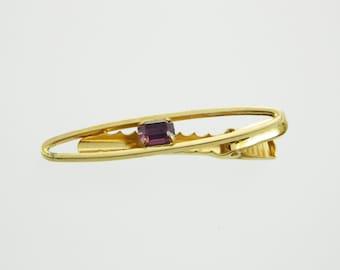 Gold Amethyst Tie Clip - TT047