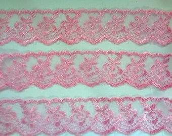 """Rose Embroidery Lace Trim, Pink, 1 1/2"""" inch wide, 1 Yard For Dolls, Accessories, Home Decor, Apparel, Romantic Crafts"""
