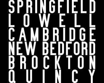 Massachusetts subway sign art repping Boston, Worcester, Springfield, Lowell, Cambridge, New Bedford, Brockton, Quincy