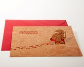 pop up card wood with envelope - santa claus