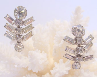 Rhinestone Dangle Screw Back Earrings Have Round and Baguette Shaped Stones