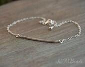 Delicate Tube Bracelet Sterling Silver Thin Bar Skinny Chain Bracelet Minimalist Simple Dainty Jewelry Stacking Bracelet Gift For Her Trendy