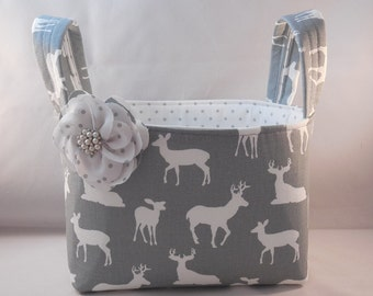 Gray and White Deer Themed Fabric Basket With Handles And Detachable Fabric Flower Pin