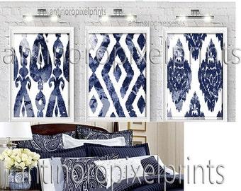 Watercolor Ikat Khaki Shades of Grey White Digital Print Wall Art Prints  -Set of (3) - 24x36 Prints - Khaki / Grey (UNFRAMED)