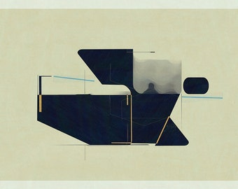 Abstract composition 769 - abstract geometric - minimalism - 84 x 60 cm - A1 - Limited edition