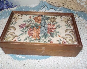 Sweet Wooden Tapestry Jewelry Box or Little Box lined with Velvet  /Great Gift Idea / NOT INCLUDED In Any Discount or Couon Sales