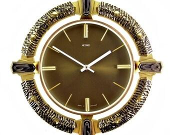 Vintage 1970s Black & Gilt Gothic Style Wall Clock with Quartz Movement
