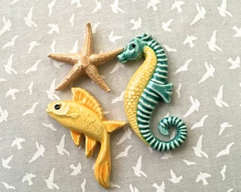 Seahorse, Cool Fish & Starfish - Mosaic or Jewelry Supply