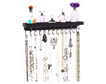 Wall Mount Necklace Holder Organizer Jewelry Storage Rack Display - Angelynn's Schelon Necklace Rack (Black)
