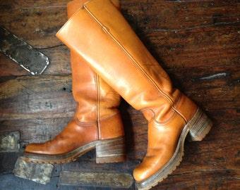 Frye Leather Riding Boots True Vintage 1960s Black Label Cognac Brown Leather Campus Size 5 5.5 US