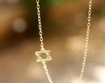 Summer Sale - Star of David Necklace - Gold Sideways Jewish Star of David Necklace. jewish jewelry, magen david necklace.