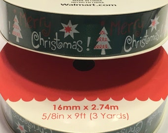 9 feet of Merry Christmas ribbon, 5/8 inch wide (HR7)