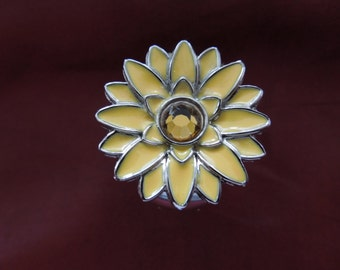 Vintage Watch Ring, Yellow Flower with Central Rhinestone, Flexible