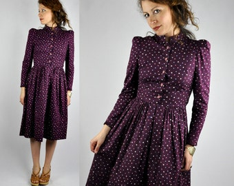 70s Floral Dress Peasant Prairie Dress Pleated Fitted Waist Long Sleeves Purple Eggplant Floral Dress Boho size XS - S