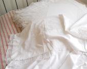 2 antique bed sheets plus pillow cases vintage lace bed sheet vintage bedding white lace sheet pillow shams antique wedding gift
