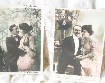 2 Antique French postcards vintage postcards vintage french lovers postcards french vintage postcards