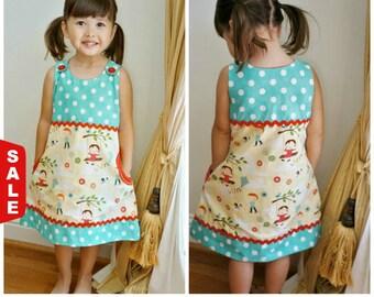 Sale - 30 Days- 30 Bargains Pinafore Vintage Style Girl's Dress Pattern PDF Tutorial - The Megan, age 2-6, Video instructions, apron dress,