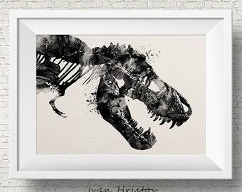 T-Rex print, Black, dinosaur print, dinosaur bones, blue green kids art, watercolor dinosaur, dino print, dinosaur art, watercolor print