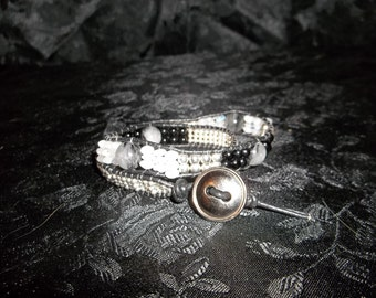 Black and White Leather Wrap Bracelet