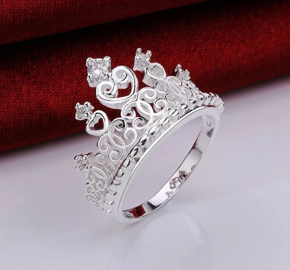 princess crown ring sterling silver ring promise by gcrdesigns