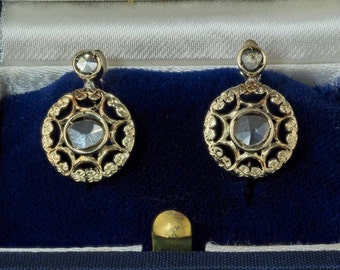Victorian .50 Ct rose cut diamond rere earlobe earrings